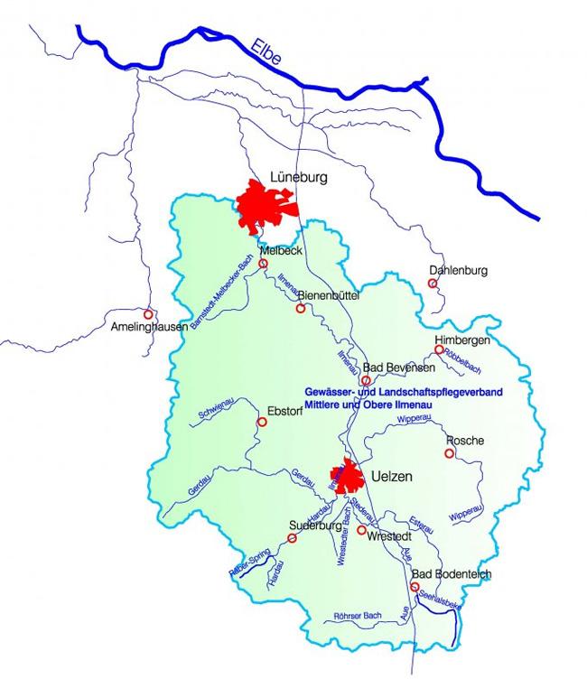 Wasser- und Bodenverband Uelzen - Übersichtskarte Gewässer- und Landschaftspflegeverband Mittlere und Obere Ilmenau